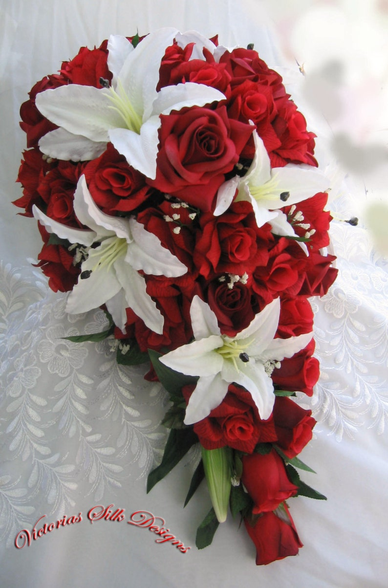 Red Roses And White Lilies Bridal Bouquet 2 Pieces Etsy