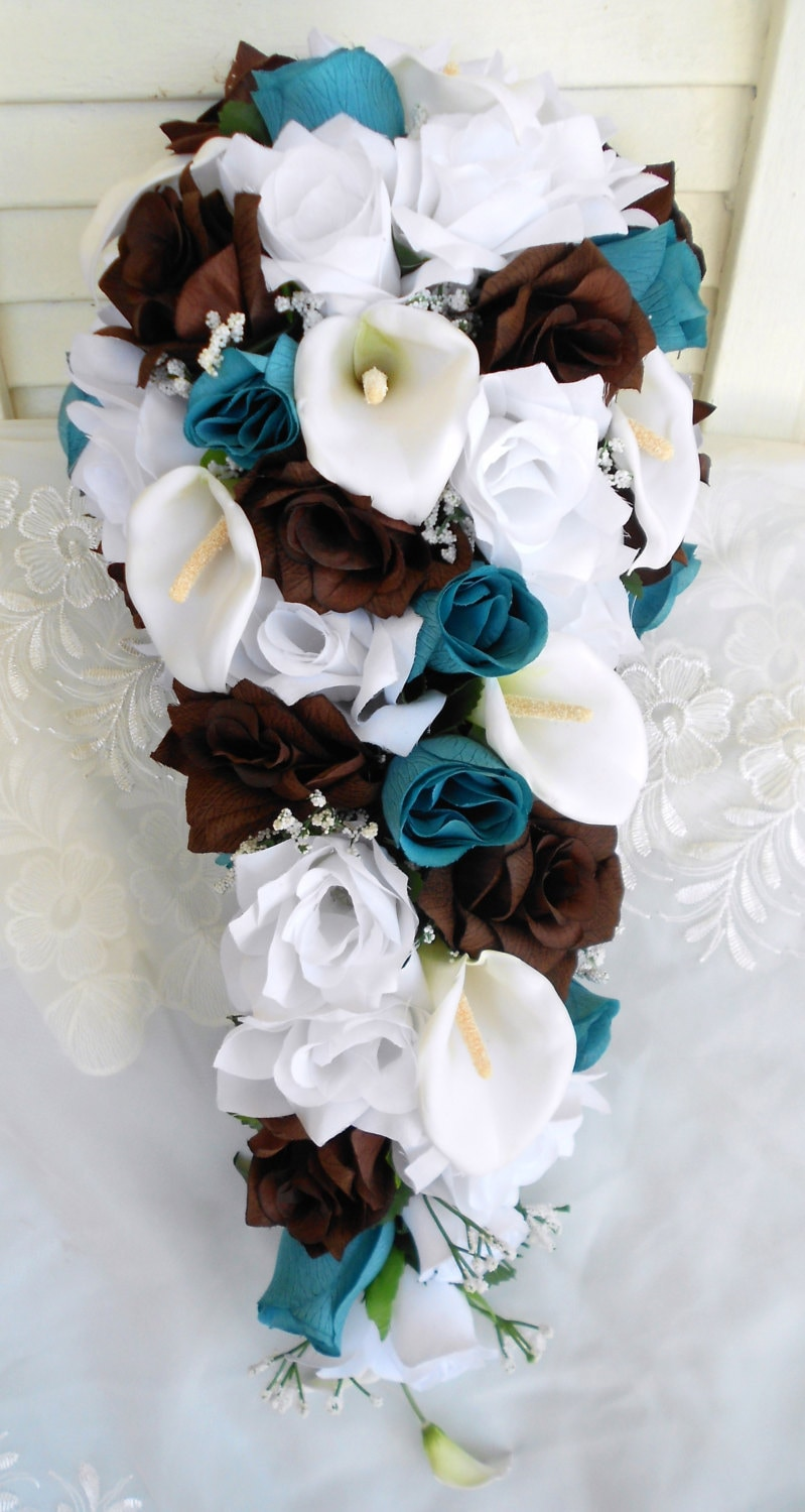 Silk Cascading Bridal Bouquet Turquoise Brown And White 2 Etsy