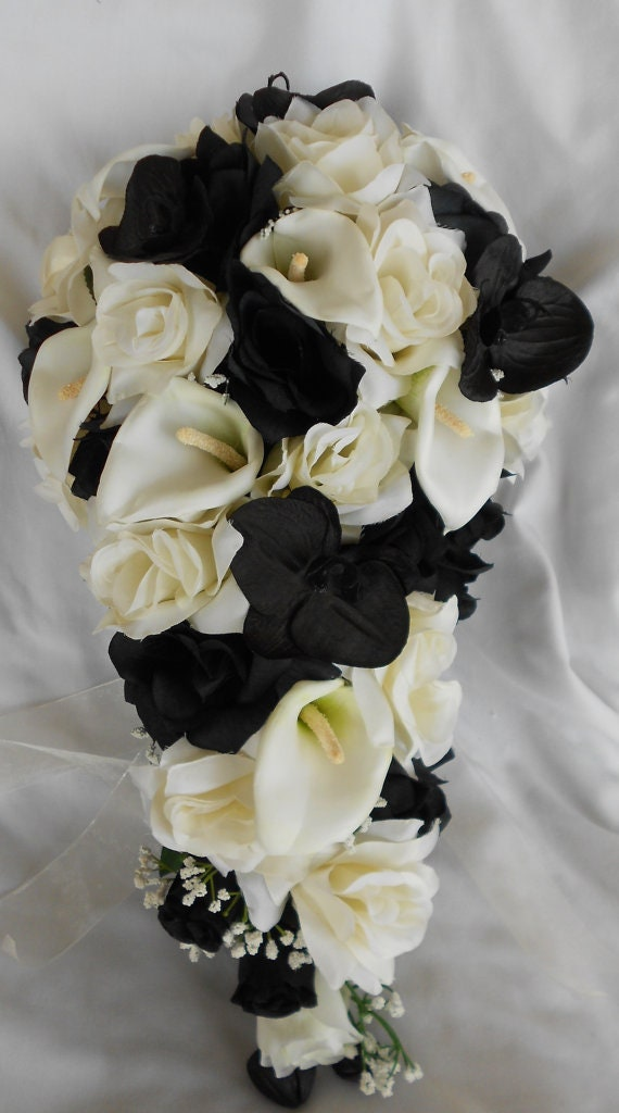 Black Orchids And White Roses Cascading Wedding Bouquet Etsy