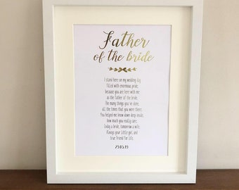 Gift For Wedding Personalised Print. Gift For Father of the Bride Special Father of the Bride poem Custom Foil Picture