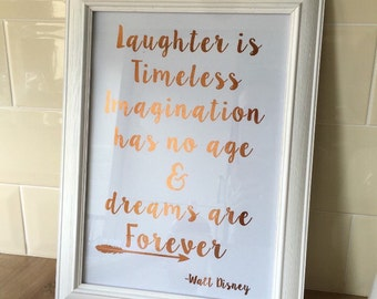 Walt Disney Foil Print - Disney Print - Home Decor Nursery Print - Copper Home Decor & Other Foil Finishes