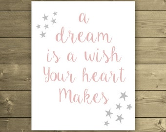 A Dream Is A Wish Your Heart Makes print instant download,  Cinderella Quote, Walt Disney Cinderella Print, - Instant Download