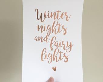 Winter nights & fairy lights print - winter nights  Foil Print- Home Decor - Foil Print - Real foil print - Christmas Print