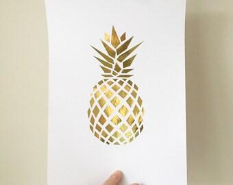 Pineapple Print , Pineapple Foil Print , Pineapple Decor , Pineapple Art , Gold home decor , Rose gold Home Decor , Pineapple Home Decor