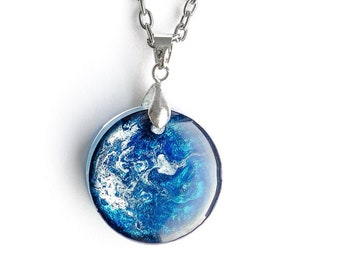 Handmade necklace Double sided Alcohol Ink Necklace Petri Dish Reversible Abstract Jewelry Copper Swirl Pendant