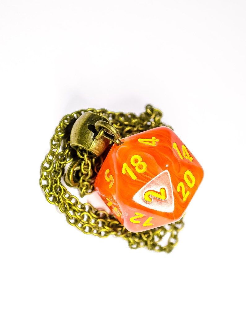 Dice Necklace Gamer DnD Pendant D/&D D20 Necklace Orange Marble Jewelry DnD Jewelry Geek Gift