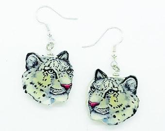 Snow Leopard Larger Wood Stud Earrings Big Cat