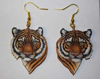 Tiger Earrings, Original Art