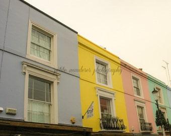 Portobello Road, Building Colors, Notting Hill Architecture, Notting Hill, London Art, London Photography, Travel, Fine Art Print