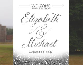 Silver Wedding Welcome Sign Glitter Wedding Reception Sign Silver Glitter Wedding Decor Printable Wedding Decoration 16x20 24x36 JPEG PDF