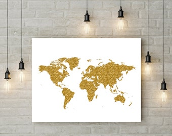 Rose Gold World Map Poster Large World Map Print Faux Foil Map Etsy - Floor to ceiling world map