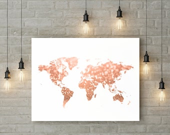 Rose Gold World Map Print Pink And Art Travel Decor Home Printable Glitter Digital 30x40 24x36 16x20 11x14