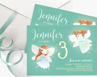 Mint Green Birthday Invitation, Little Girl Birthday Party Invite, Fairy Birthday Invitation, Fairy Party Invitation, Printable Invitation