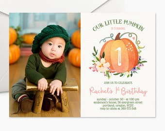 Our Little Pumpkin Invitation Girl First Birthday Invitation Photo Invitation Fall Birthday Party Invite Boho Printable Invitation Halloween