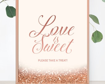 Love Is Sweet Please Take A Treat Rose Gold Wedding Sign Glitter Wedding Decor Printable Wedding Print Candy Bar Glitter Wedding Decoration