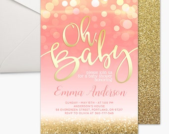Pink and Gold Baby Shower Invitation Girl Baby Shower Invitation Baby Shower Invite Printable Invitation Party Invite Bokeh Gold Glitter 5x7