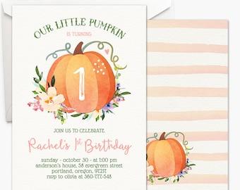 Our Little Pumpkin Invitation - Girl First Birthday Invitation Fall Birthday Party Boho Watercolor Printable Invitation Halloween Birthday