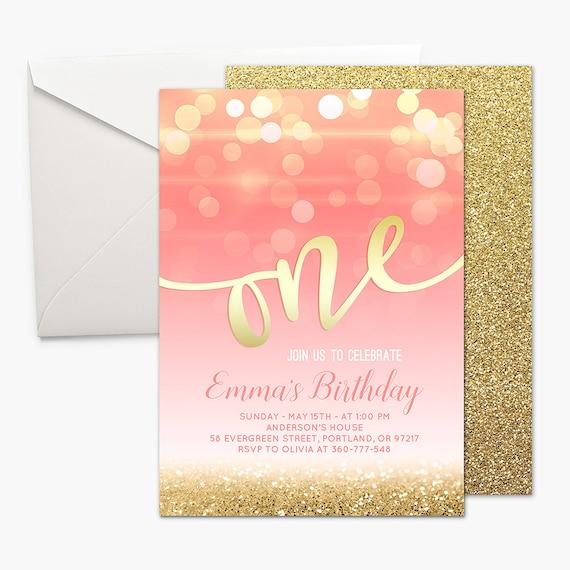 Pink And Gold First Birthday Invitation Girl 1st Birthday Pink Etsy