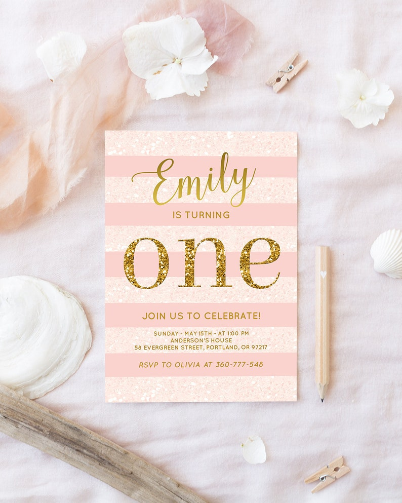 Pink And Gold Birthday Invitation Baby Girl First