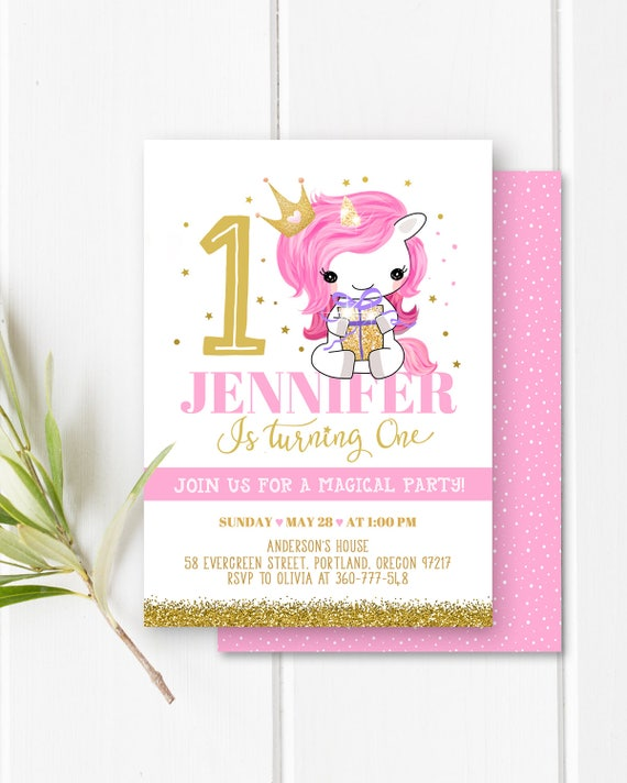 Unicorn Birthday Invitation Party Girl