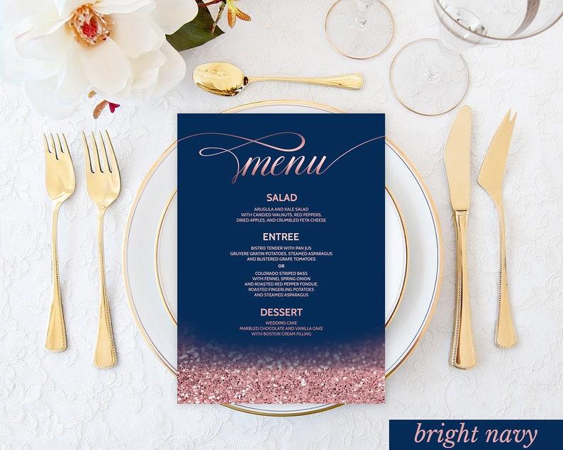 Blush Navy Wedding Menu Cards Printable Wedding Menu Rose Gold Etsy