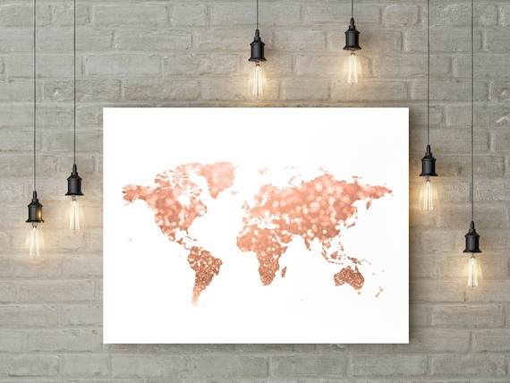 Rose gold world map print pink and gold map art travel decor etsy gumiabroncs Image collections