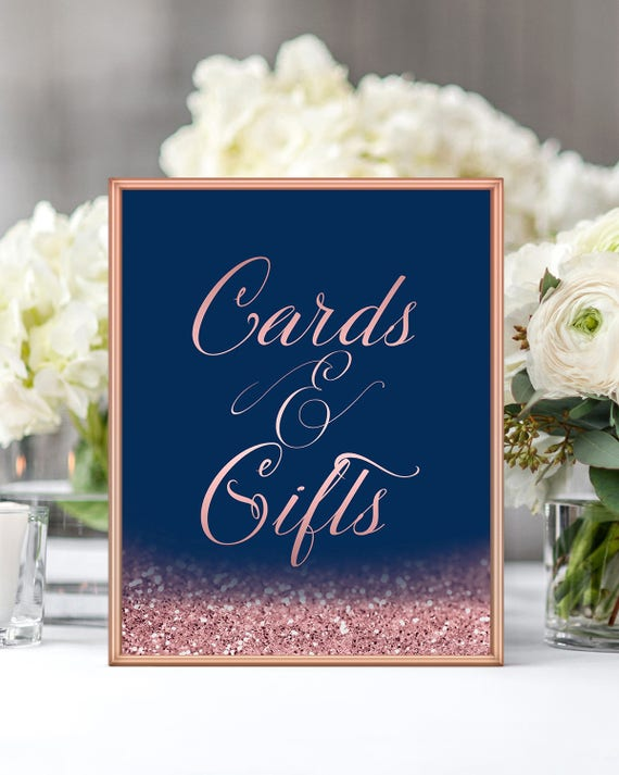 Cards And Gifts Wedding Sign Navy Blue Blush Wedding Decor Etsy