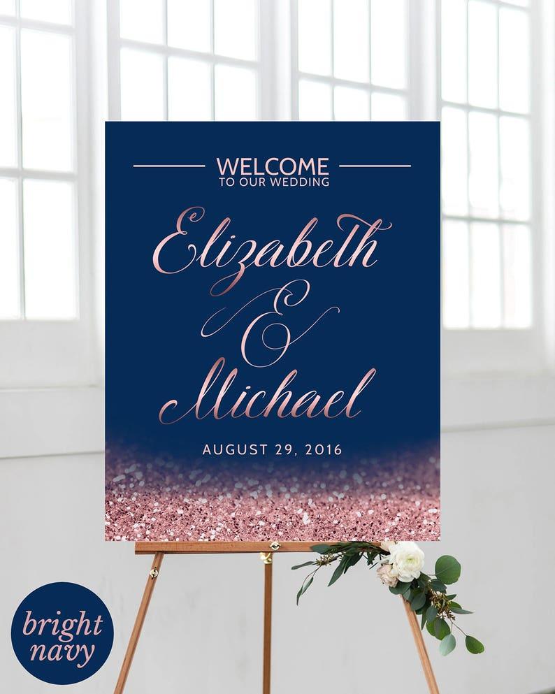 Blush Navy Wedding Welcome Sign Wedding Ceremony Sign Navy Etsy