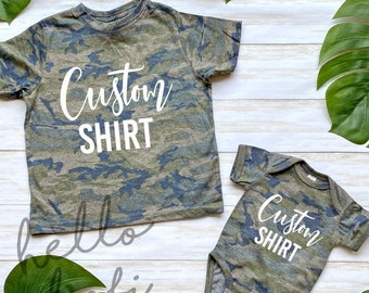 Personalised Name and Number Camo T-shirt Camouflage Children/'s T-shirt Army