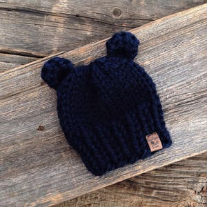 3597599eb0c Newborn Navy Blue Bear Hat