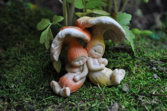 Sleeping Mushroom BabiesFairy Garden MiniaturesFairy Garden | Etsy