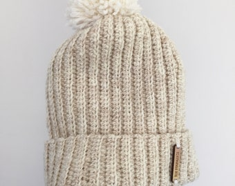 Adult Crochet ribbed beanie - 100% Australian Merino wool - handmade - CUSTOM COLOUR
