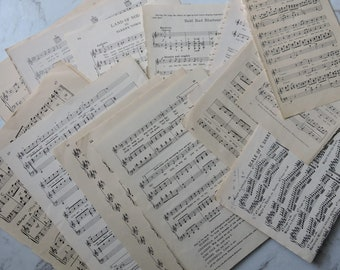 Music sheets, Vintage music , Junk Journals, Mixed Media,Collage paper