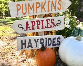 Fall Decor, Pumpkins, Apples, Hayrides Arrow Direction Sign, Halloween Fall party, events