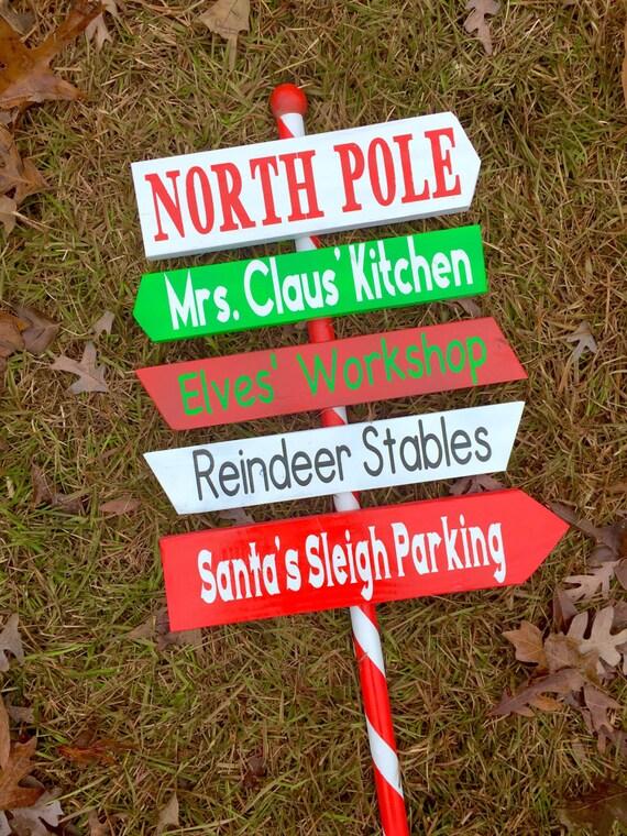Christmas Arrow Signs.North Pole Christmas Sign Yard Outdoor Christmas Holiday Decor Town Outdoor Red White Pole Christmas Direction Arrow Signs Decorations