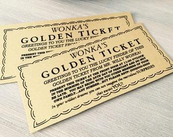 Willy Wonka Golden Ticket,  Gold Ticket, Charlie Chocolate Factory Movie Party Birthday, Child Birthday Party