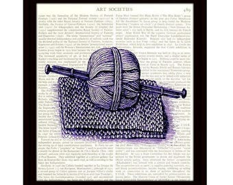 Knitting Art Print, Knitting Needles and Yarn in Purple, Victorian Illustration, Upcycled Dictionary Page, Home Decor - Item 275