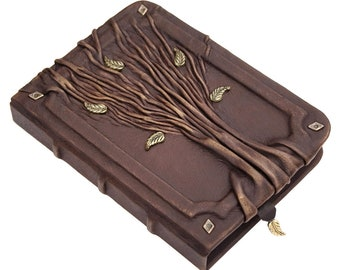 Leather Journal, LINED Paper, leather notebook, writing journal, blank book, personalized gift,  journal with tree
