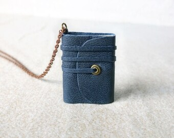 Book necklace, mini book jewelry, mini journal, tiny book, journal, literature necklace, leather journal