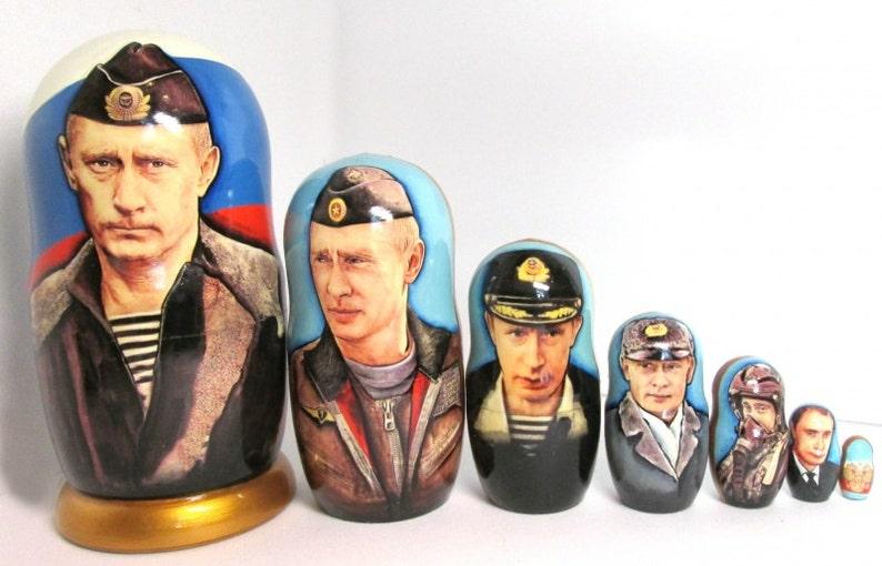"""Nesting doll /""""Vladimir Putin/"""" 7 pcs 8.2 Inches"""