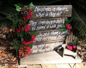 Christmas In Heaven Poem With Chair Printable.Memorial Chair Etsy