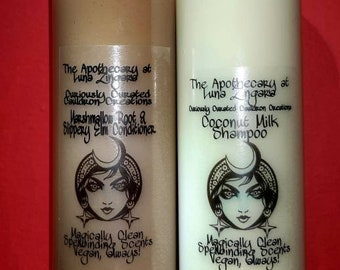 Natural Shampoo and Conditioner. Cruelty free, coconut milk, marshmallow root, slippery elm, chemical free, SLS free, 4-C Haircare, wax free