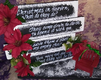 Christmas In Heaven with 2 Chairs, Christmas Display, Sympathy Gift, Memorial Display, Christmas Decor, Empty Chair Poem, Memorial, Sympathy