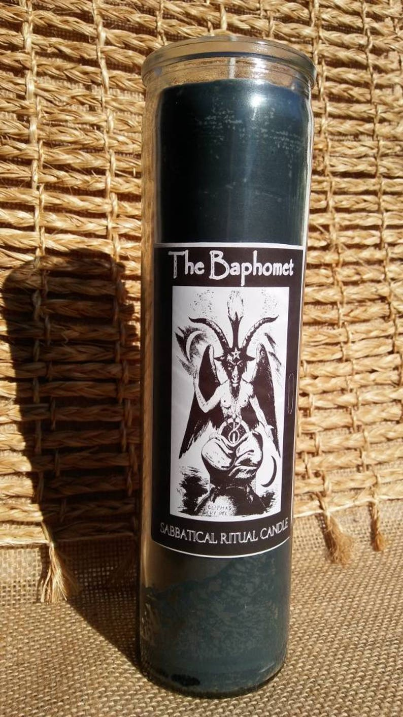 Baphomet Ritual Candle    Baphomet Novena  Left Hand Path  Spell Candle   Crystal Infused Candle  Herbal Infused Candle  Baphomet Candle