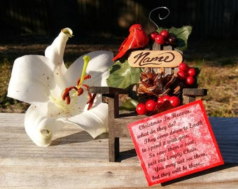 2 Christmas In Heaven Ornaments, Memorial Ornament, Empty Chair Poem Ornament, lost loved ones, customizable Ornament, Cardinal Messenger