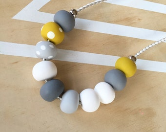 Polymer clay bead necklace. Polymer clay necklace. White, grey, mustard, spot beads! 'The mia'