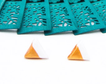 Triangle studs | Gold stud clay | Gold white studs | Geometric studs | Gold stud clay | Gold dipped studs