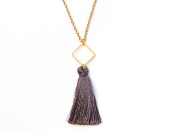 Gold tassle necklace Tassel necklace silk Long Tassel necklace gold Boho necklace long Gold tassel necklace Boho necklace gold