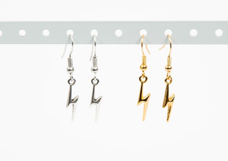 11533f1d0 Lightning bolt earrings Lightning earrings Gold lightning | Etsy