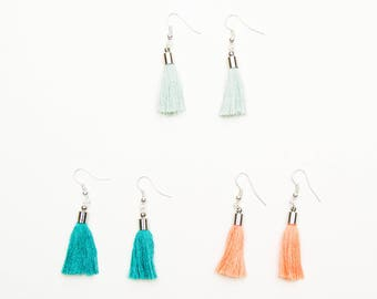 Mint tassel earring Mint tassle earrings Silver tassel Tassel jewelry Gift for her Silver tassle